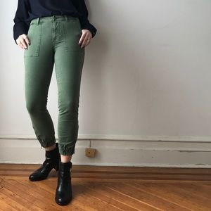 j. crew cotton green cropped utility cargo pants